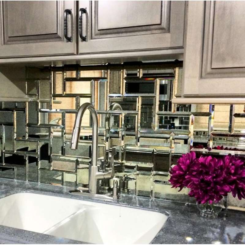 Reflections Glass Mirror Beveled Tile, Glass Mirror Wall Tiles