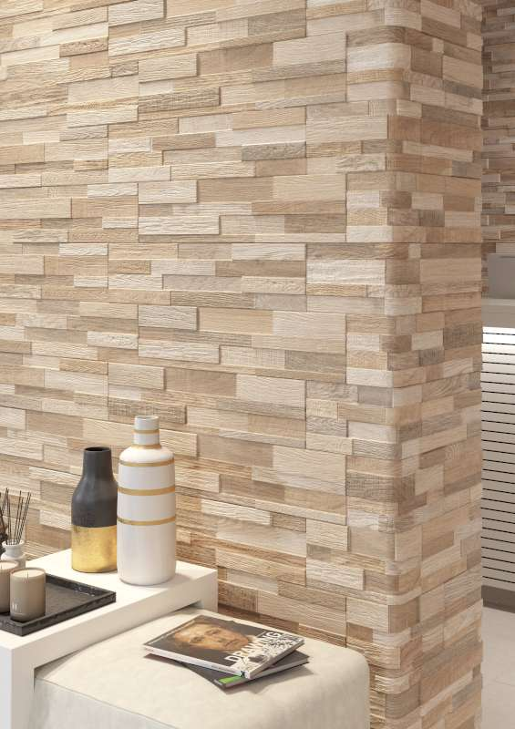 Wall Art Wood Look Ledger Tile Ceramica Rondine And Stone