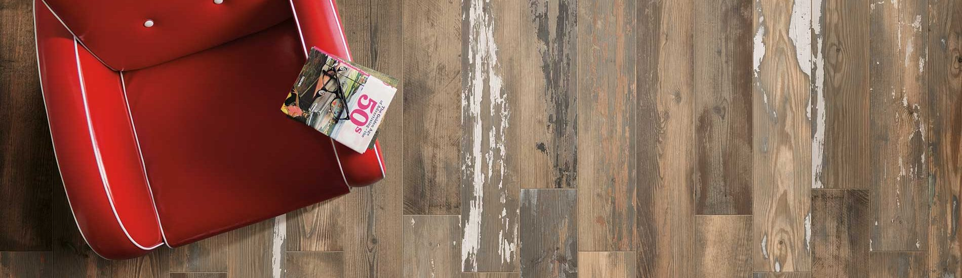 Banner Painted Wood Look Distressed Italian Wall Tile